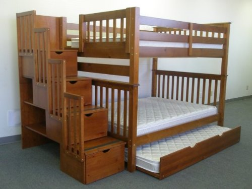 Bedz King Full Over Full Stairway Bunk Bed with Twin Trundle, Espresso