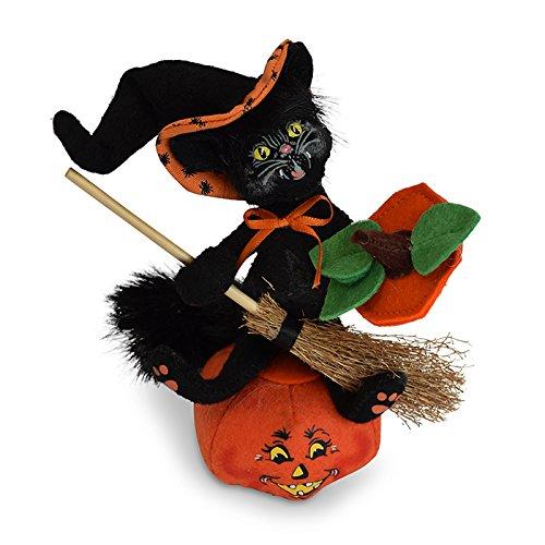 Annalee 6in Witch Kitty on Pumpkin by Annalee