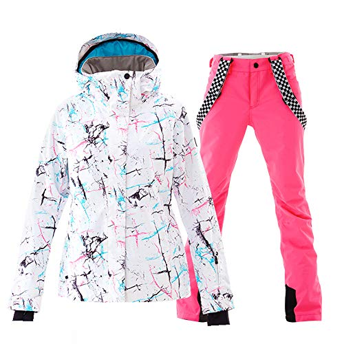 Women's Ski Jackets and Pants Set Windproof Waterproof Snowsuit Pink M
