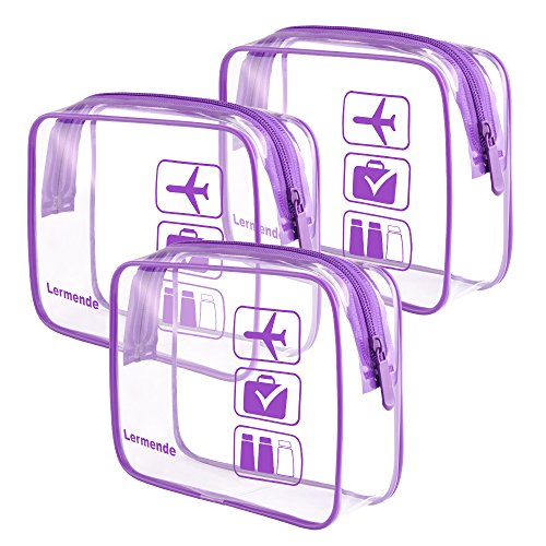 3pcs Lermende TSA Approved Toiletry Bag with Zipper Travel Luggage Pouch Carry On Clear Airport Airline Compliant Bag Travel Cosmetic Makeup Bags - Purple ()