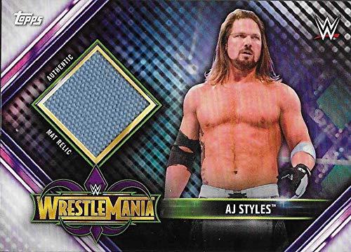 2019 Topps Road to WrestleMania Mat Relics #MR-AJ AJ Styles NM-MT MEM WrestleMania 34 Official WWE Trading Card from Road to WrestleMania