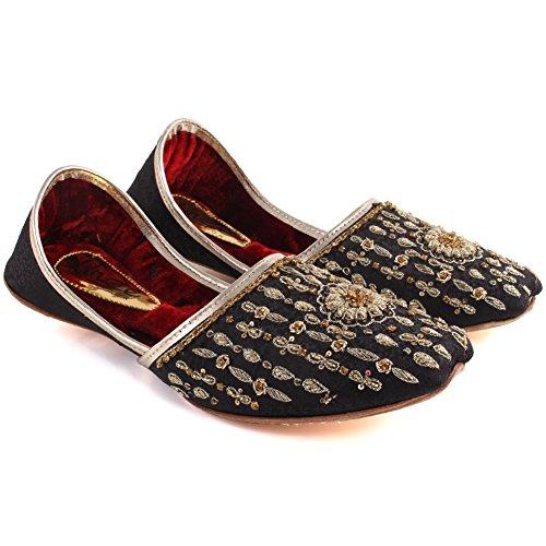 Negro Diseñado Los Indio 6 Boda Size Hombres Tila Slip Parte Davy 11 en Unze UK Khussa Mehndi Cqpzaww