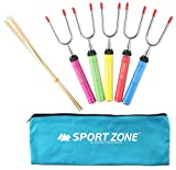 Sport Zone ''7 Piece KIT'' Marshmallow Roasting Stick with 5 Piece 34'' Telescoping Smores Skewers with Canvas Bag