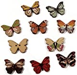"""Fancy & Decorative {18 x 25mm w/ 2 Holes} 10 Pack of Large Size """"Flat"""" Sewing & Craft Buttons Made of Genuine Wood w/ Detailed Butterfly Garden Bug Shape Cute Kids Crafts Design {Assorted Colors}"""