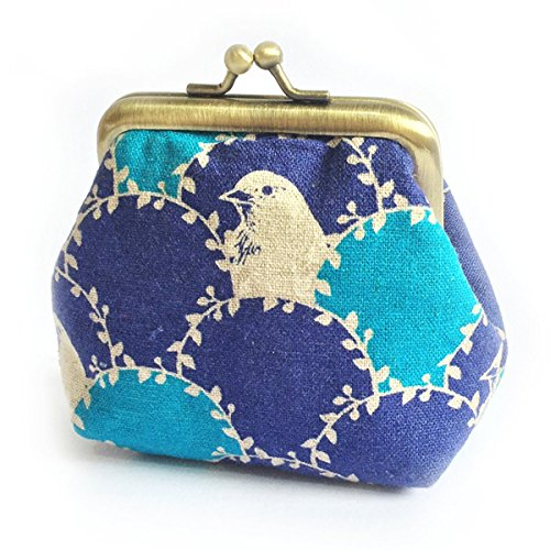 Kiss Lock Coin Purse, Bird In Arc Handmade Small Clasp Purse