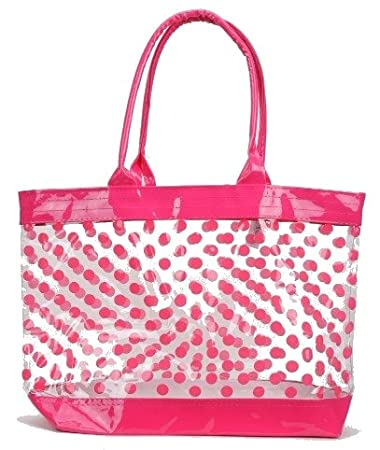 Amazon.com: Clear Tote Bag / Beach Bag with Polka Dots (Hot Pink ...