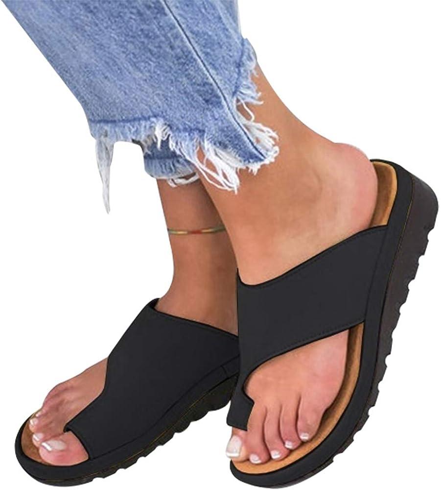 DoGeek Chaussure ete 2019 New Femmes Sandales Comfy Plates Beach Travel Shoes Semi Trailer Sandals