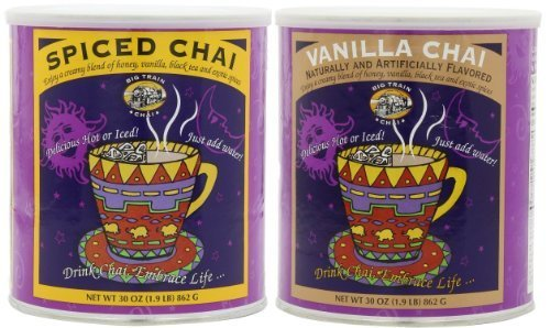 Big Train Spiced Chai and Big Train Vanilla Chai, 1.9-Pound Cans (1 can of each) by Big Train Spiced Chai and Big Train Vanilla Chai