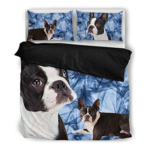 - Boston Terrier Bedding Set - Dog Lovers Gifts - Custom Cover Print Design Pillow Cases & Duvet Blanket Cover - Pet Gift Ideas