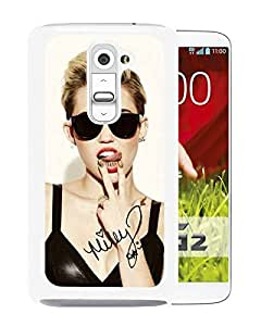 Unique Designed Skin Case For LG G2 With miley cyrus White Phone Case