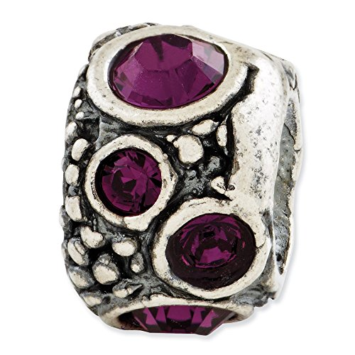 925 Sterling Silver Charm For Bracelet Purple Swarovski Elements Bead Stone Crystal Fine Jewelry Gifts For Women For ()