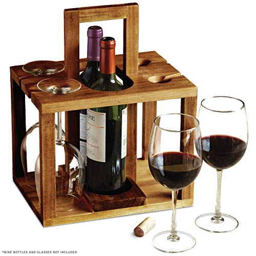 (REFINERY Wine Bottle Caddy, Holds 4 Pieces Of Glass Stemware Plus 2 Bottles Of Your Favorite Drinks, Rustic Handcrafted Design W/Acacia Wood, Sturdy Top Handle For Easier Carrying, Great Hostess Gift)