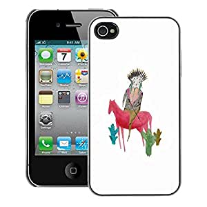 A-type Arte & diseño plástico duro Fundas Cover Cubre Hard Case Cover para iPhone 4 / 4S (Drawing Mother Mom Horse White)
