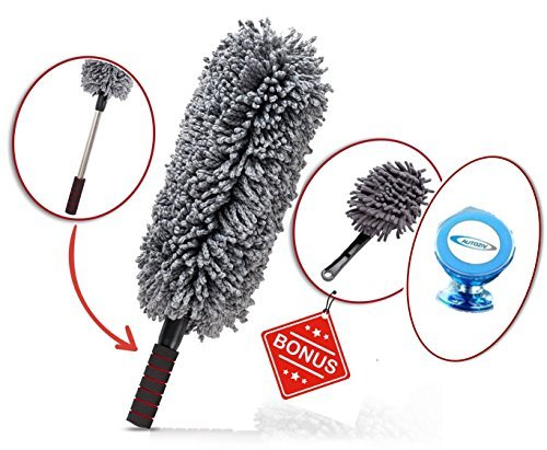 Car and Home Duster, 2 Piece Premium Exterior and Interior Vehicle Microfiber, Lint Free, Wax Free Cleaning Brushes with Zippered Case: Kit by Z&O FREE Magnetic Car Mount