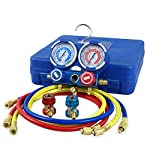 ZENY Diagnostic A/C Manifold Gauge Set R22 R134a R410a Refrigeration Kit Brass Auto Serivice Kit 4FT w/Case, 1/4 SAE Fittings