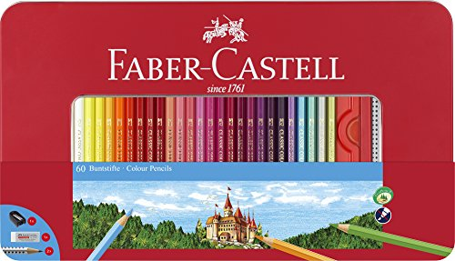 Faber Castell Case - Faber-Castell 115894 Hexagonal 60 Colouring Pencils in Metal Case