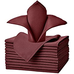 VEEYOO Oversized 20x20 Solid Polyester Cloth Napkins for Wedding Party Restaurant Dinner Family Gatherings Washable Set of 12, Burgundy