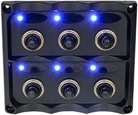 過負荷保護 LEDロッカースイッチパネル 防水 難燃 耐熱 6つスイッチ同時制御可能 DC12V / 24V 品質保証