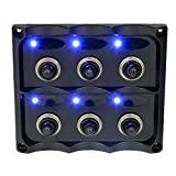 MagiDeal 6 Gang Blue LED ON-OFF Marine Boat Toggle Switch Panel Waterproof 12V-24V