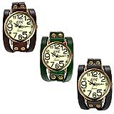Lancardo Vintage Ladies Large Arabic Markers Multi Layers Leather Wrap Cuff Bracelet Wrist Watch(3PCS)