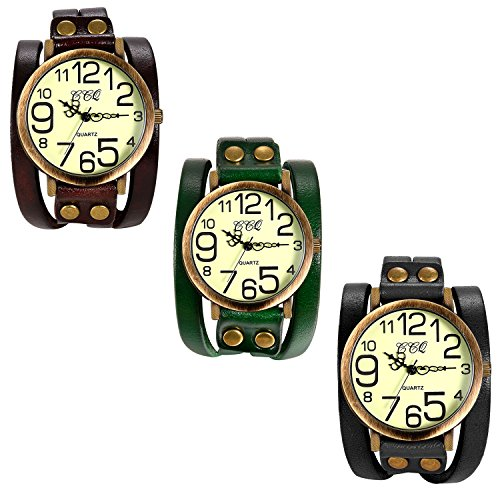(Lancardo Vintage Ladies Large Arabic Markers Multi Layers Leather Wrap Cuff Bracelet Wrist Watch(3PCS))