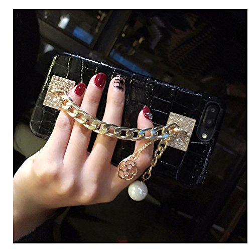 BabeMall Luxury Bling Vintage Crocodile Printed Soft Case for iPhone 7 Plus/iPhone 8 Plus PU Leather Back Cover (Gold Chain/Black, iPhone 7 Plus/iPhone 8 Plus)