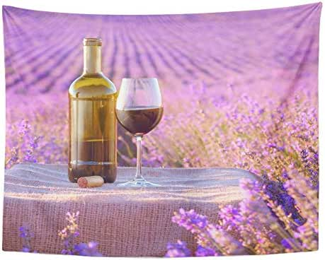 Emvency Tapestry Polyester Fabric Print Home Decor Colorful France Bottle of Wine Against Lavender Landscape Purple Glass Provence Wall Hanging Tapestry for Living Room Bedroom Dorm 60x80 Inches