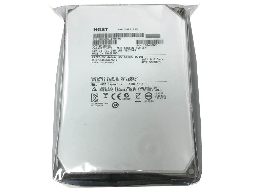 HGST HGST Ultrastar He6 6TB 3.5'' SATA 7200 RPM Enterprise Internal Hard Drive with 64Mb Cache - HUS726060ALA640/0F18335 64 MB Cache 3.5-Inch Internal Bare or OEM Drives 0F18335 (Certified Refurbished) by HGST (Image #3)