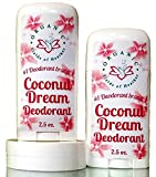 Depilatory Cream Effects On Hair - Organic Deodorant COCONUT DREAM SCENT 2PK | Healthy Botanically Infused Ingredients | 2.5 oz