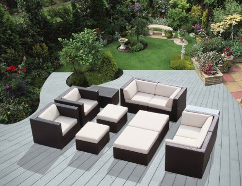 Genuine Ohana Outdoor Patio Sofa Sectional Wicker Furniture 12pc Couch Set with Free Patio Cover