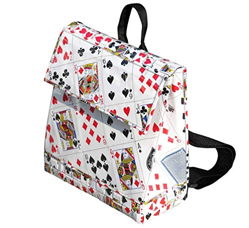 (Backpack made using playing cards - FREE SHIPPING, upcycled style eco friendly vegan recycled reclaimed bag bags handbags gift for handbag unique play card poker bridge player las vegas casino)