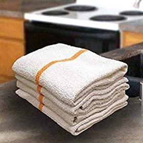 OMNI LINENS 24 Gold/orange Stripe Bar Mops Restaur...