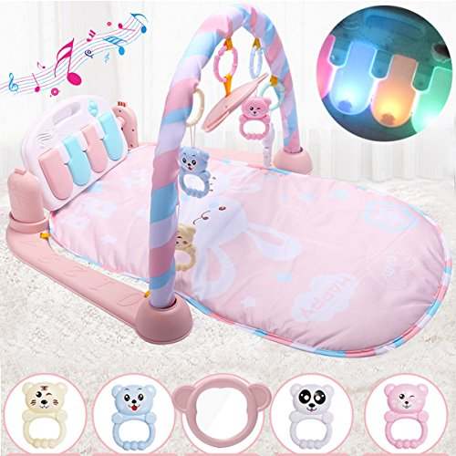 Jeteven Baby Play Mat Kick And Play Piano Gym  Newborn Activity Toy With Piano  Mirror For Baby 1   36 Month  30 X 24 X 17 Inch  Pink