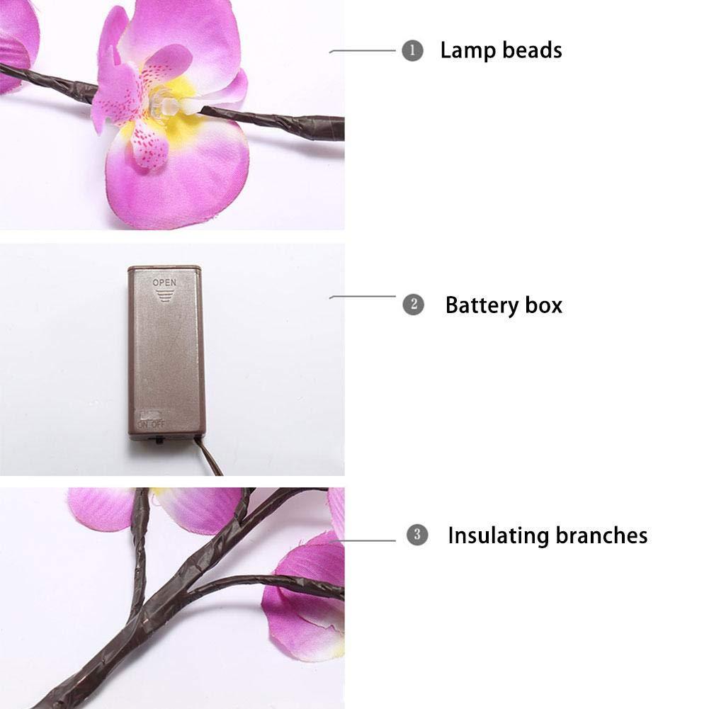 Kitabetty Luce Ramo LED LED Lampada da Ramo 20 LED Simulazione Phalaenopsis Lampada da Giardino Decorativa per Feste di Natale Bianco Caldo.