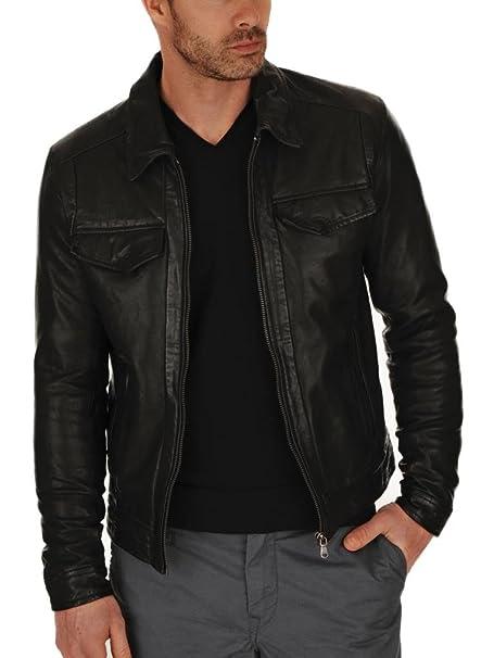EXEMPLAR Para hombre ejemplar negro Real de vaca auténtica con una chaqueta de cuero KC706: Amazon.es: Ropa y accesorios