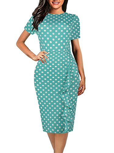oxiuly Women's Vintage Polka Dot Short Sleeve Round Neck Work Club Bodycon Sheath Pencil Slim Summer Dress OX055 (S, Green ()