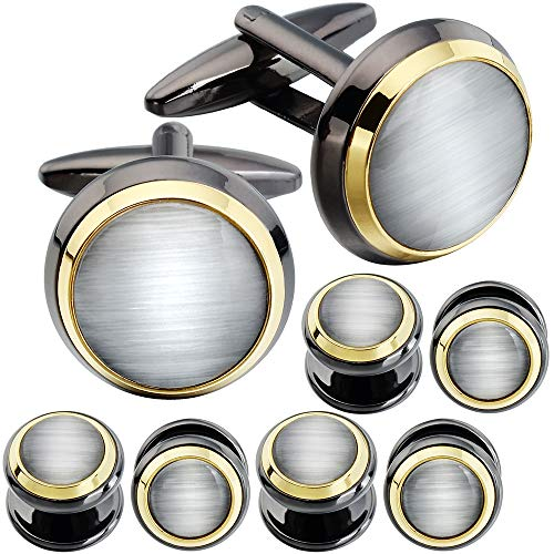 HAWSON Cuff Links Tuxedo Studs Set for Men - Best Gifts for Wedding, Formal Events (White Cat's Eye)