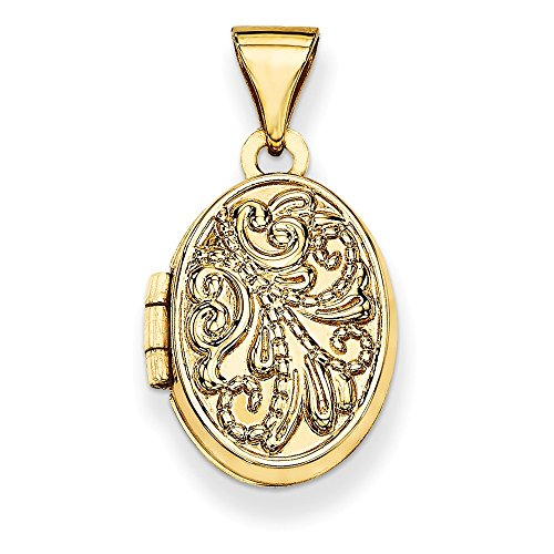 14k Yellow Gold Polished Holds 2 photos Oval Locket