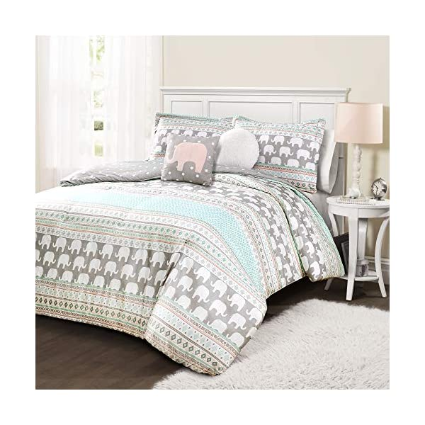 Lush Decor Elephant Stripe 4 Piece Comforter Set, Full/Queen, Turquoise and Pink
