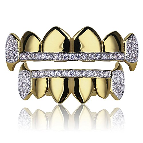 TOPGRILLZ Gold Hip Hop Teeth Grillz Micro Pave Cubic Zircon Top&Bottom Vampire Fangs Teeth Grills Set Holleween Gift Men Women (Yellow Gold) (Tooth Yellow Gold)