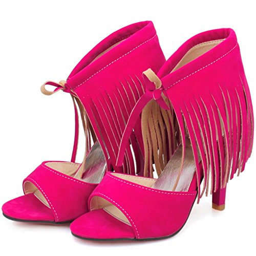 Up TAOFFEN Lace Sandals with Toe Fashion Red High Women Heels Rose Fringe Open pwwqtx6Er