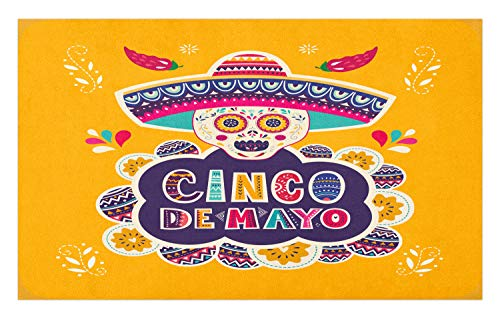 Lunarable Cinco de Mayo Doormat, Vivid Folkloric Mexican Sugar Skull with Sombrero Hat and Ornaments, Decorative Polyester Floor Mat with Non-Skid Backing, 30 W X 18 L Inches, Marigold Multicolor -