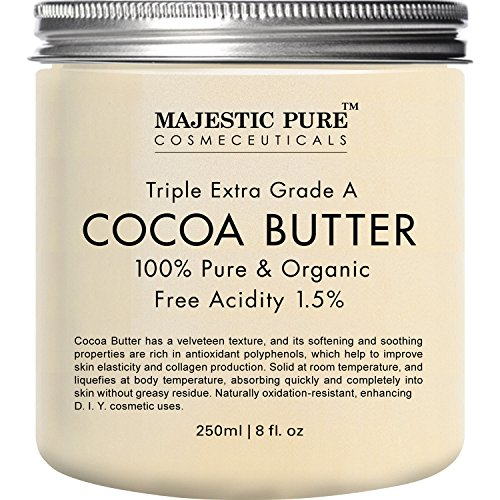Cocoa Butter from Majestic Pure, 8 oz - Organic, Raw, Unrefined Premium Grade Cocoa Butter