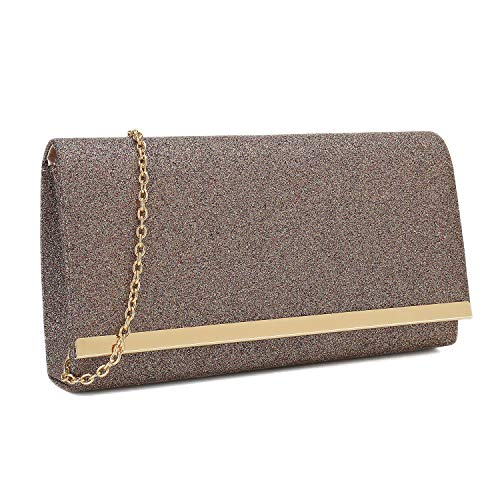 Charming Tailor Evening Handbag Glitzy Metallic Glitter Clutch Bag with Metal Trim Flap (Purple)