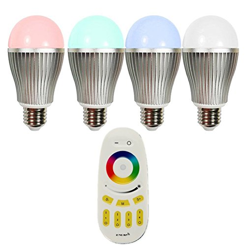 Hotenda Wireless E27 9W LED RGB + White Bulb Lamp + 4-Zone RF Remote Touch Sensitive Remote Controller - Dimmable Multicolored Color Changing LED Lights - Track Light Rail Bullet