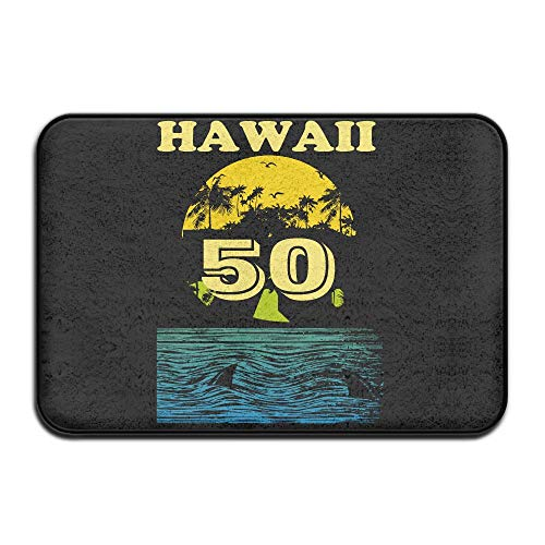 Fuucc-6 Inside & Outside Entrance Custom Doormat Statehood Day in Hawaii Design Pattern Front Porch by Fuucc-6