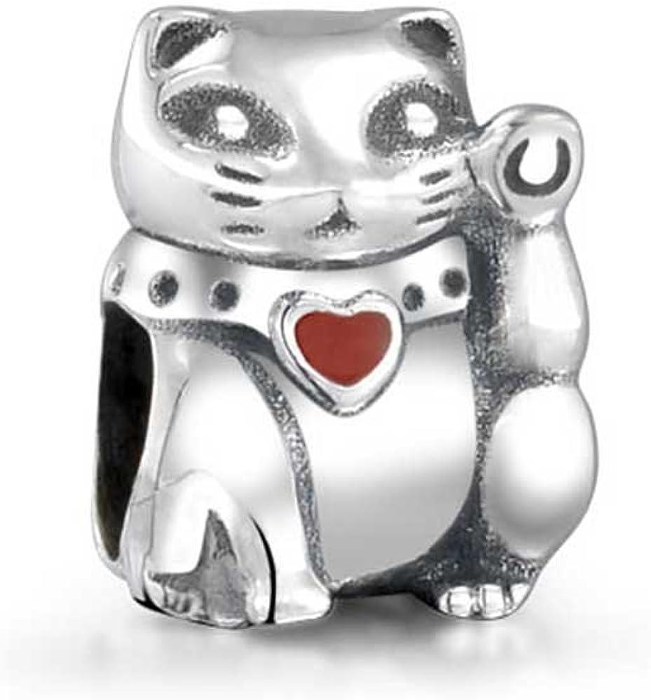 Japanese Maneki Neko Good Fortune Lucky Cat Charm Bead For Women For Teen 925 Sterling Silver Fits European Bracelet