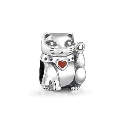 0b5bcb17a Amazon.com: Japanese Maneki Neko Good Fortune Lucky Cat Charm Bead For  Women For Teen 925 Sterling Silver Fits European Bracelet: Pandora Charms  Japanese: ...