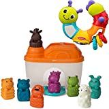 Infantino Topsy Turvy Twist Play Caterpillar Rattle and Animal Shapes Sorting Barn Activity Learning Toy for Baby/Toddler Toys