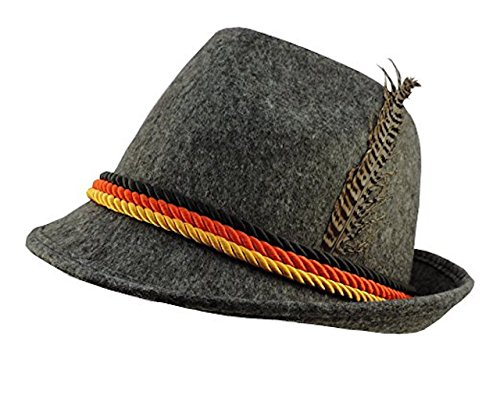 Costumes Oktoberfest Germany (Grey Felt Alpine Oktoberfest German Bavarian Costume Hat w/)